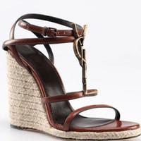 ingrosso produzione di cinture di cuoio-Sandali femminili di stile classico europeo di lusso Pantofole di moda Sandali sexy Stile di lavoro a maglia Cuciture di cuoio e realizzazione di fibbie per cinture