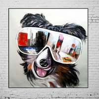 Wholesale cool abstract art paintings for sale - Group buy HandPainted Cool Animal Dog Weras Dark Glasses Art Painting Modern Abstract Oil Painting On Canvas Decoration for Room Home DecoA127