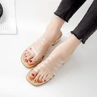 sandalias de plastico transparente al por mayor-Pretty2019 Transparent Year Slipper Plastic Cement Sandals Mujer Verano Ropa exterior Alta áspera Con