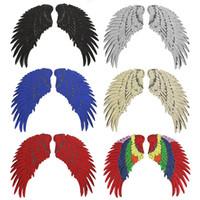 tissus de plumes achat en gros de-Ange Aile Plume Sequin Brodé Tissu Grand Patch 33.5 * 32cm Applique Bâton Sac à Vêtements Décorer Accessoires DIY Or Argent Fer