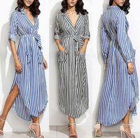 Wholesale club belt resale online - Women Elevertical Striped Long Shirt Dress Cardigan Ladies Lapel Long Sleeve Split Maxi Dresses With Belt Vestido