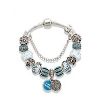 ingrosso scatole regalo di braccialetto di pandora-Hot Charm Bracelet elegante in rilievo a sospensione per regalo di giorno Pandora Gioielli fai da te perline ciondolo Bracciale signore della mamma con la scatola originale