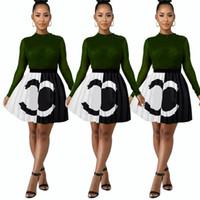 jupe plissée à la mode s achat en gros de-Patchwork de luxe Mode Robe Courte 2019 Designer Femme Robes D'été Marque Contraste Couleur Mini Jupe Plissée Club Robes De Soirée C7207