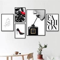 paris odası dekor toptan satış-Moda Paris Parfüm Kilisesi vücut Sanatı İskandinav Posterler Ve Baskılar Duvar Sanatı Tuval Boyama Duvar Resimleri Için Oturma Odası Dekor