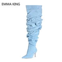 Rabatt Damen2019 Stiefel Damen2019 Blue Blue Denim Denim Stiefel Rabatt vmN80OnPwy