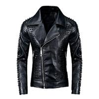 faux pu-leder großhandel-2019 Designer Winter Herren Leder Faux-Lederjacke der Männer Herbst Hip Hop Street Outwear Top-Qualität PU-Leder-Mantel-Größe M-3XL