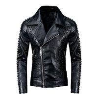 casacos de couro de inverno venda por atacado-Couro Faux Leather Jacket Autumn Hip dos homens homens inverno 2019 Designer Hop Streetwear Outwear Top Quality PU Leather Coat Tamanho M-3XL