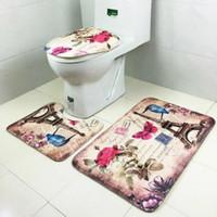 teppichboden teppichboden großhandel-3 teile / satz Oceanic unterwasserwelt Druck Rutschfeste Wc Bad Pad Bodenmatte Teppich Teppich Saugfähigen Sockel Teppich Deckel Toilettendeckel Bad matte