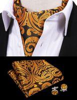 Wholesale tie dye cravat resale online - Hi Tie Mens Vintage Golden Luxury Wedding Formal Cravat Ascot Scrunch Self British style Gentleman Polyester Neck Tie AS