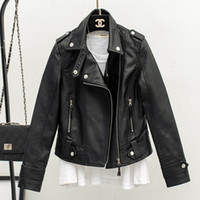 2019 new slim lapels leather jacket faux leather jackets women
