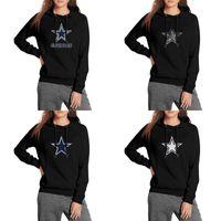 fleece gefüttert pullover hoodie großhandel-Dallas Cowboys blau weiß schwarz Damen Hoodie Fleece Sweatshirt Tasche Mit Kapuze Logo Wort Mesh-Design Graues Futter Leopard amerikanische Flagge