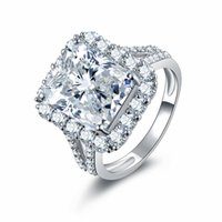 döşeli bant toptan satış-Kare Takı 925 Ayar Gümüş Prenses Kesim 5A Kübik Zirkonya Açacağı CZ Eternity Kadınlar Düğün Nişan Band Yüzük Severler için