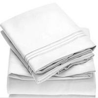 king taies d'oreiller blanc achat en gros de-Literie blanche King size draps de lit couleur unie drap plat drap-housse de taie d'oreiller draps de lit ensembles de draps doubles
