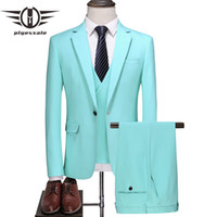 Wholesale turquoise costumes for sale - Group buy Plyesxale Turquoise Groom Wedding Suit Men New Spring Autumn Prom Suits For Men High Quality Piece Stage Costume Homme Q712