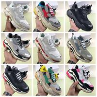 sapatos de qualidade aaa venda por atacado-Gun Combinação inferior sapatos Hi-Street New Triple-S 17FW Homem Mulher Sneaker AAA Qualidade cores misturadas grosso Heel vovô instrutor calçados casuais