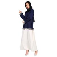 платье в стиле абаи оптовых-2 styles Beautiful Muslim ramadan Womens Abaya Dress Embroidery Print O-Neck abaya for women Long Sleeve Loose Dress F30409