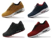 erkekler süet deri çizmeler toptan satış-Mens 90 VT Süet Deri Kış Sneakers Rahat Yürüyüş Ayakkabıları Adam Çizmeler 7 Renkler En Quallity