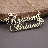 Wholesale Personalized Princess Crown Double Name Necklace Stainless Steel Butterfly Pendants For Lovers Women Men Custom Jewelry Gifts