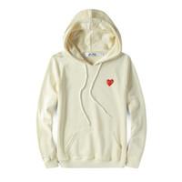 casaco vermelho designer venda por atacado-Mens designers de casacos C-D-G camisas do hoodie off coração vermelho Commes des Garçons brancas de algodão capô blusão ocasional casacos casacos de inverno