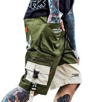 armeekurzschlüsse für männer großhandel-Sommer Männer Hip Hop Kurze Jogger Streetwear 2019 Harajuku Cargo Shorts Tasche Farbblock Armee Grün Tatical Military Baggy Short
