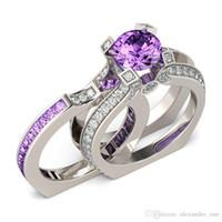 boda púrpura del diamante fijada al por mayor-Moda 925 de plata esterlina Princesa tallado Púrpura Topaz Diamond CZ Anillos de piedras preciosas conjunto Compromiso Boda Novia Banda Anillos Dedo para mujeres
