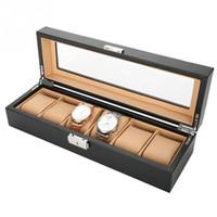 шкафы для хранения наручных часов оптовых-6 Grids Carbon Fiber PU Leather Watch Holder Wristwatch Display Case Storage Box Organizer