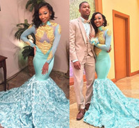 Wholesale pictures flowers white roses resale online - 2019 High Neck mint Blue Mermaid Prom Dresses Gold Lace Appliques Long Sleeves african Evening Gowns D Rose Floral Formal Party Dresses