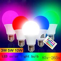 ingrosso 3w globo colorato rgb principale-Lampadina a LED E27 RGB 3W 5W 10W Lampada di illuminazione AC85-265V Per la lampadina della lampadina del globo dell'hotel dell'hotel Colourful con