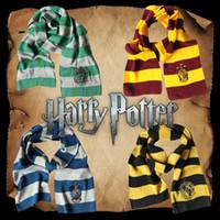 cores malha lenço venda por atacado-Harry Potter Inverno Malha Cachecol Gryffindor Série Crachá Cosplay Listrado Cachecóis de Malha de Natal Trajes de Natal Presentes 4 Cores Navio Livre