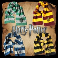 Wholesale free shipping christmas gifts resale online - Harry Potter Winter Knitted Scarf Gryffindor Series Badge Cosplay Striped Knit Scarves Halloween Christmas Costumes Gifts Colors Free Ship