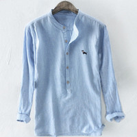 blusa de manga longa chinesa venda por atacado-Mandarim linho Collar Camisas botão Fit Bordado Tradicional Chinesa Casual shirt 3XL Summer Fashion Long Sleeve Top Blusa