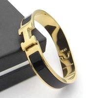 frauen silbernes armband armband großhandel-12mm Luxus Titan Stahl Manschette BraceletsBangles Armband Emaille Armband H Silber Schnalle Top Qualität Armbänder für Frauen