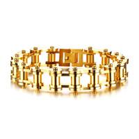 Wholesale mens golden bracelets resale online - BIKE CHAIN BRACELET STAINLESS STEEL CHUNKY GOLDEN MOTORCYCLE LINK BRACELET FOR MENS JEWELLERY