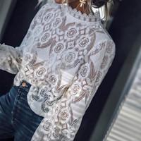 ingrosso colletto elegante delle signore della camicetta delle signore-Pizzo Crochet scava fuori bianco Camicie da donna Ruffles manica lunga collare trasparente camicette da donna 2019 Top moda elegante