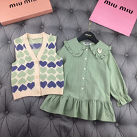 Wholesale new baby skirts designs for sale - Group buy Girls set children designer clothing new solid color shirt skirt vest retro V design tide baby must have girl suit