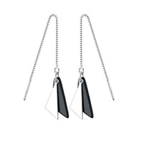 Wholesale Drop Threader Earrings Guaranteed Solid Sterling Silver Drop Earrings with Black Agate yh8002