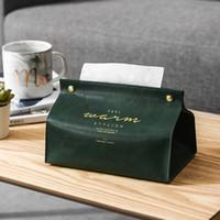 New Leather Facial Tissue Box Cover Rectangular Napkin Holder Desktop Storage Snap Closure Drop ship