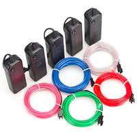 roter neondraht groihandel-EL Wire Light, 9ft tragbare Neonlichter für Partys, Halloween, Blacklight Run (5er Pack, je 9ft, Rot, Grün, Pink, Blau, Weiß)
