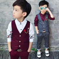 Wholesale cool baby clothes suits resale online - New Autumn Boys Clothes Set Cool Baby Boy Suits For Teenager Long Sleeve Shirt Pants Vest Set Boy Clothing Sets