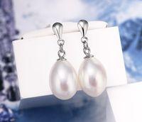 Wholesale fresh water stud earring resale online - Classic drop shaped white Fresh Water Pearl Stud Earrings