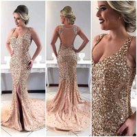 Wholesale evening dress online - 2019 Luxury Bling Gold Major Beading Rhinestone Evening Dresses Mermaid Split Long Prom Gowns Women Occasion Pageant Wears Custom Made