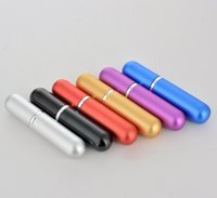 mini tubes en aluminium achat en gros de-5 ml tête ronde électrifié en aluminium bouteille de parfum mini portable verre sous-bouteille sous-surface en aluminium tube vaporisateur vide DHL