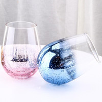 Wholesale lead crystal glasses resale online - 20oz Lead free Crystal Egg Cup Wine Glass Tumbler Modern Large Capacity Ion plated Rainbow Transparent Household Living Room Crafts MMA1747