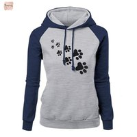 Wholesale dog clothes s m resale online - Woman Clothes Paw Casual Women Dog Print Hoodies Color Block Long Sleeve Hooded Sweatshirt Drop Shipping