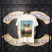 ingrosso camicia dei pipistrelli-Primavera Estate 2019 Europa Italia Bat Pig Uccello ape T-shirt ad olio di alta qualità Tshirt Moda Uomo Donna Casual Cotton Tee Top