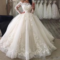 Wholesale plus size floor skirts online - 2019 New Puffy Ball Gown Wedding Dresses Off Shoulder Illusion Full Sleeves Lace Appliques Floor Length Organza Plus Size Formal Bridal Gown