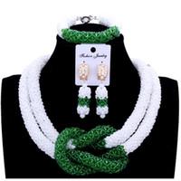 conjuntos de jóias colar de pulseira venda por atacado-4UJewelry Conjuntos de Jóias Finas Para As Mulheres de Jóias de Casamento Set Nupcial Jóias Branco e Verde Pics Bracelet Necklace Brincos