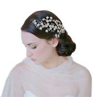 ingrosso hair chain headpiece-Capelli d'oro per capelli pettini copricapo di cristallo rosa pettini Diademi testa catena di gioielli da donna Accessori da sposa BH