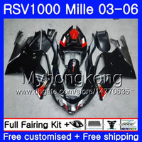 Wholesale aprilia rsv black fairing resale online - Body For Aprilia RSV R RV60 Mille glossy black hot RSV1000 R RR HM RSV1000RR RSV1000R Fairings