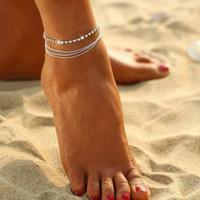 Wholesale women jewelery resale online - Chandler Bead Chain Anklet Bracelet Women Simple Slim Adjustable Wire Ankle Summer Beach Jewelery